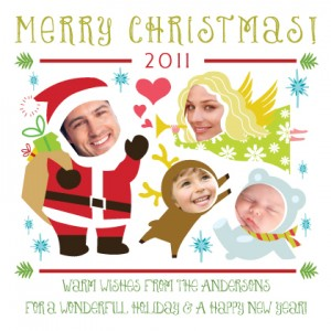 4 Photo Christmas Characters card
