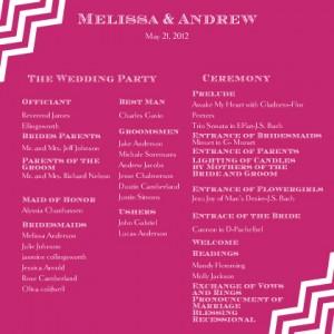 wedding reception program wording - Wedding Decor Ideas