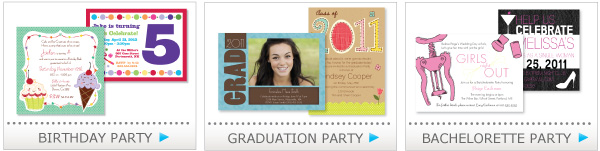 birthday party announcements, graduation party, bachelorette party