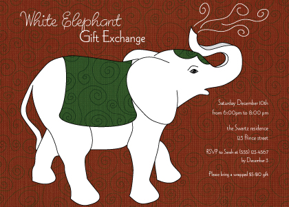 white elephant  holiday party invitations  look love send, Party invitations