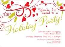 Holiday Party Invitations - holly hearts party invitation