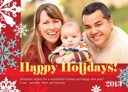 Christmas Cards - Festive Snowflakes Photo Card