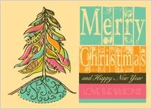 Christmas Cards - tribal christmas tree
