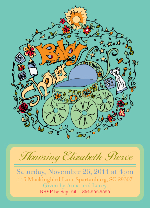 Birth Announcement - Baby Carriage - Baby Shower Invitation