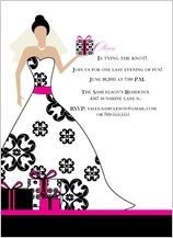 Wedding Shower Invitation - pink and black damask bride