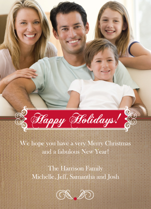 Christmas Cards - Burlap Holiday