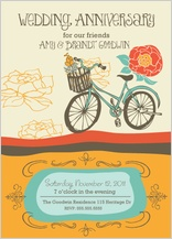 Anniversary Party Invitation - wedding anniversary - vintage bike