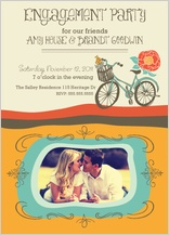 Wedding Invitation - engagement party - vintage bicycle