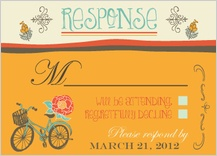 Response Card - engagement party - vintage bicycle