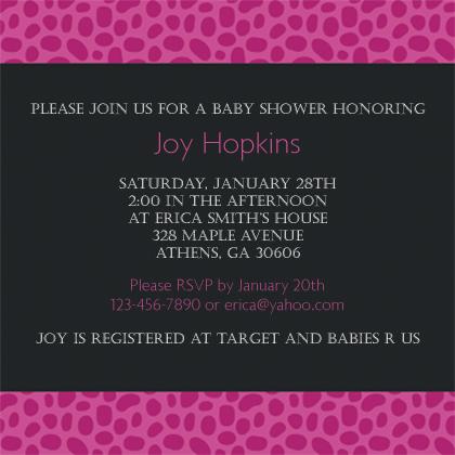 Baby Shower Invitation - Animal Print