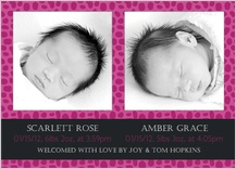 Multiples Birth Announcement with photo - animal print
