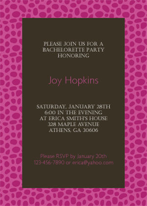 Bachelorette Party Invitation - Animal Print