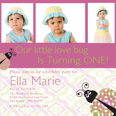 Birthday Party Invitation with photo - Love Bug 1st Brithday Party