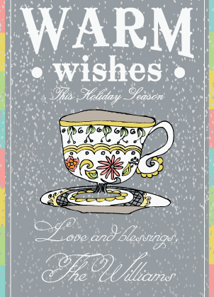 Christmas Cards - Warm Wishes Tea Cup