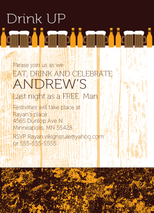 Bachelor Party Invitation - Drink Up Bachelor