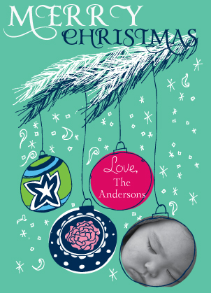 Christmas Cards - Ornaments with Snow
