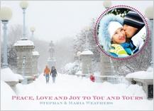 Holiday Cards - snowy stroll in boston public garden