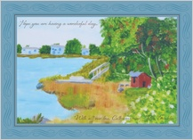 Holiday Cards - cabin by the water