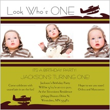 Birthday Party Invitation with photo - flying 1st birthday