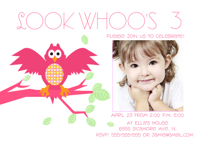 Birthday Party Invitation - Look Whoo's Brithday it is!