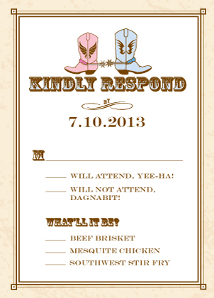 Response Card with menu options - Gettin' Hitched