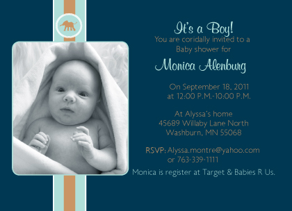 Baby Shower Invitation - Baby Elephant Button