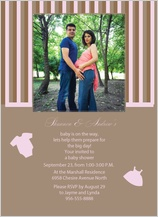 Baby Shower Invitation - pink and brown stripe baby shower