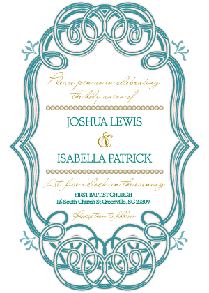 Wedding Invitation - Mint and Gold Frame