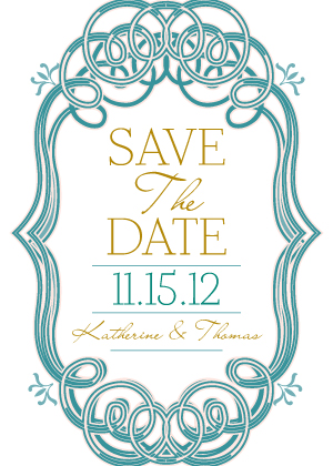 Save the Date Card - Mint and Gold Frame