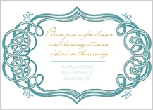 Reception Card - mint and gold frame