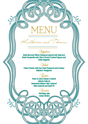 Menu - Mint and Gold Frame