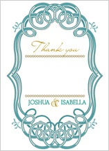 Wedding Thank You Card - mint and gold frame
