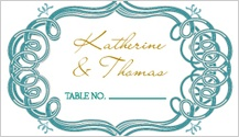 Place Card - mint and gold frame