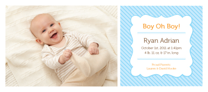 Birth Announcement with photo - Boy Oh Boy!