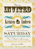 Wedding Invitation - Vintage Gold Pattern Wedding Invites
