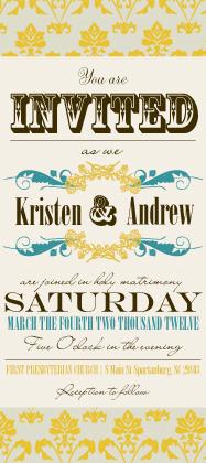 Wedding Invitation - Vintage Gold Pattern Wedding Invites