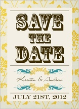 Save the Date Card - vintage gold pattern wedding invites