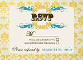 Response Card - Vintage Gold Pattern Wedding Invites