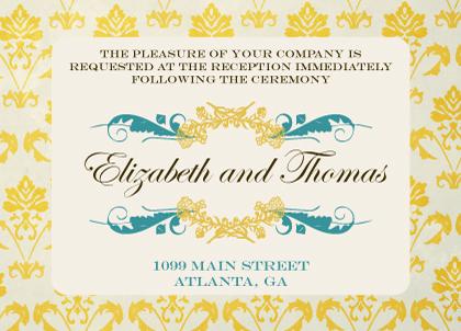 Reception Card - Vintage Gold Pattern Wedding Invites