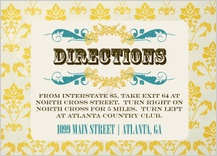 Direction - vintage gold pattern wedding invites