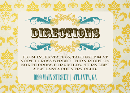 Direction - Vintage Gold Pattern Wedding Invites