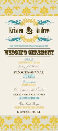 Program - Vintage Gold Pattern Wedding Invites