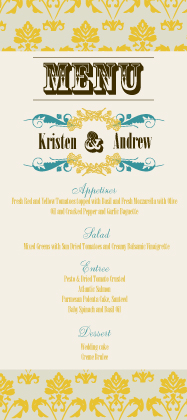 Menu - Vintage Gold Pattern Wedding Invites