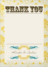 Wedding Thank You Card - vintage gold pattern wedding invites