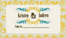 Place Card - vintage gold pattern wedding invites