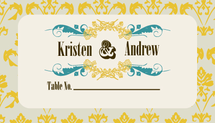 Place Card - Vintage Gold Pattern Wedding Invites
