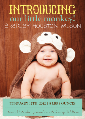 Birth Announcement - Our Little Monkey Birth Announcement