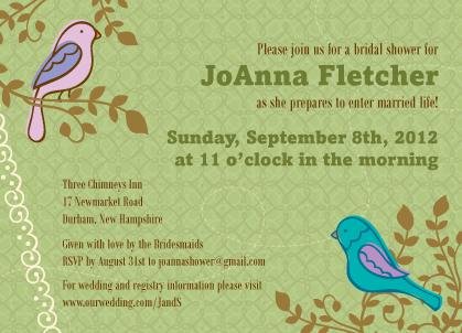 Wedding Shower Invitation - Birds