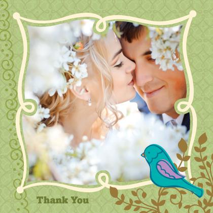 Wedding Thank You Card with photo - Birds