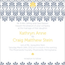 Wedding Invitation - yellow & gray flourish